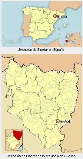 Localización geográfica de Binéfar.