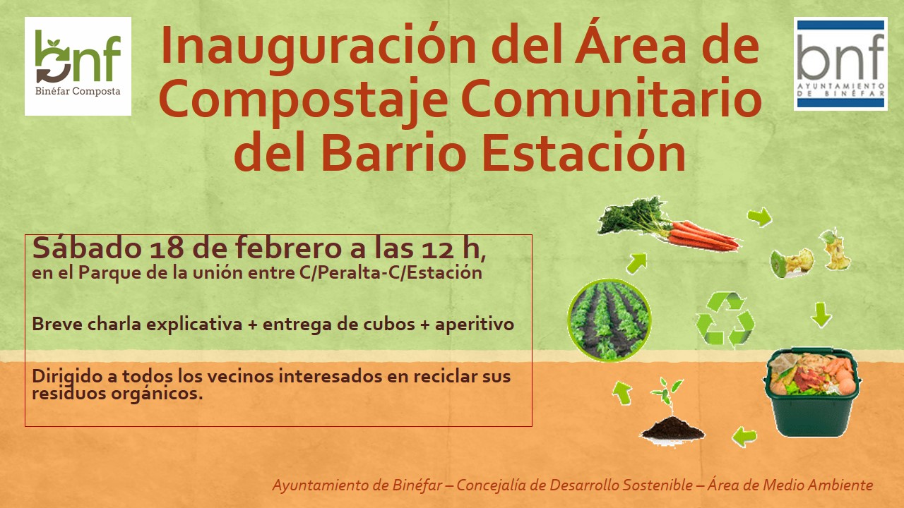 Cartel inauguración área compostaje comunitario