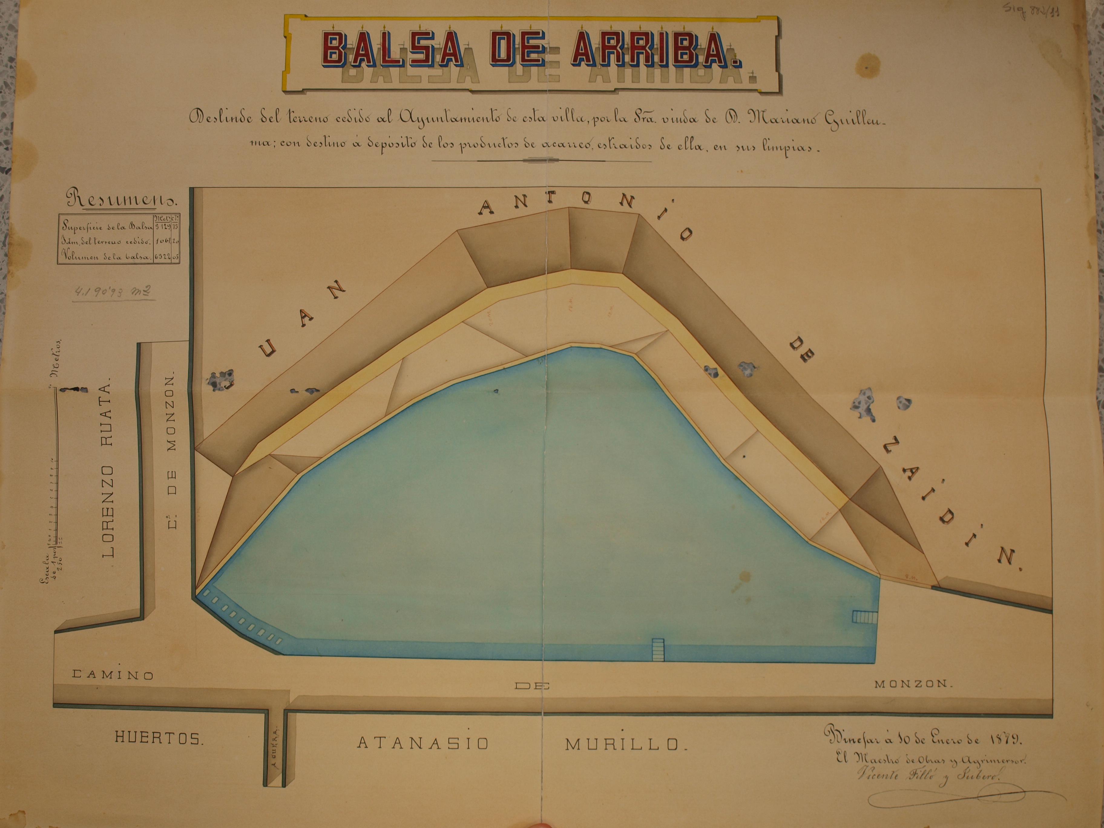Plano de la Balsa de Arriba, fechado en 1879, es uno de los documentos cartográficos más antiguos conservados en nuestro Archivo.