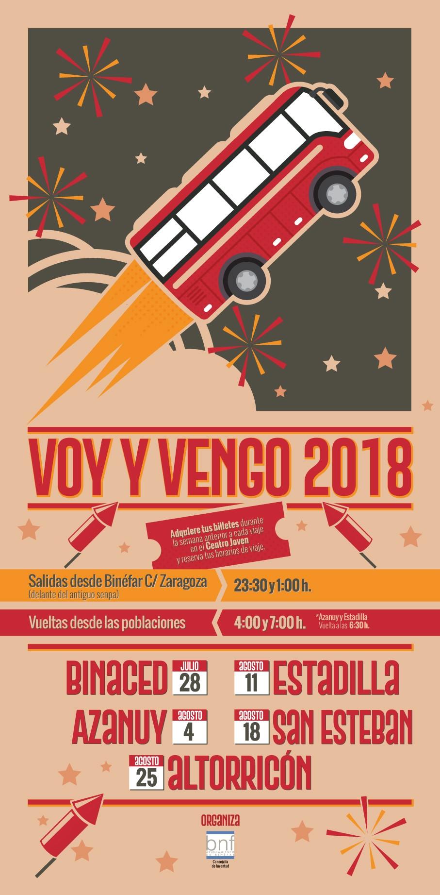 """El autobús """"Voy y Vengo"""" comienza su ruta el 28 de julio con las fiestas de Binaced"""