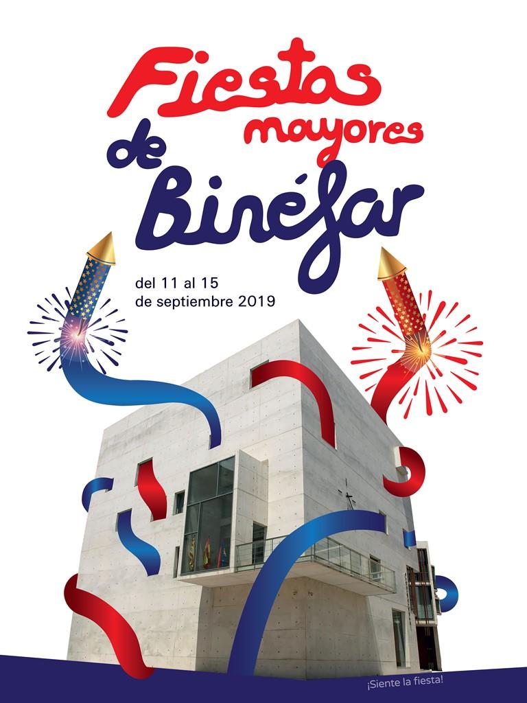 La casa consistorial y los colores de la bandera protagonizan el cartel de fiestas mayores de Binéfar 2019