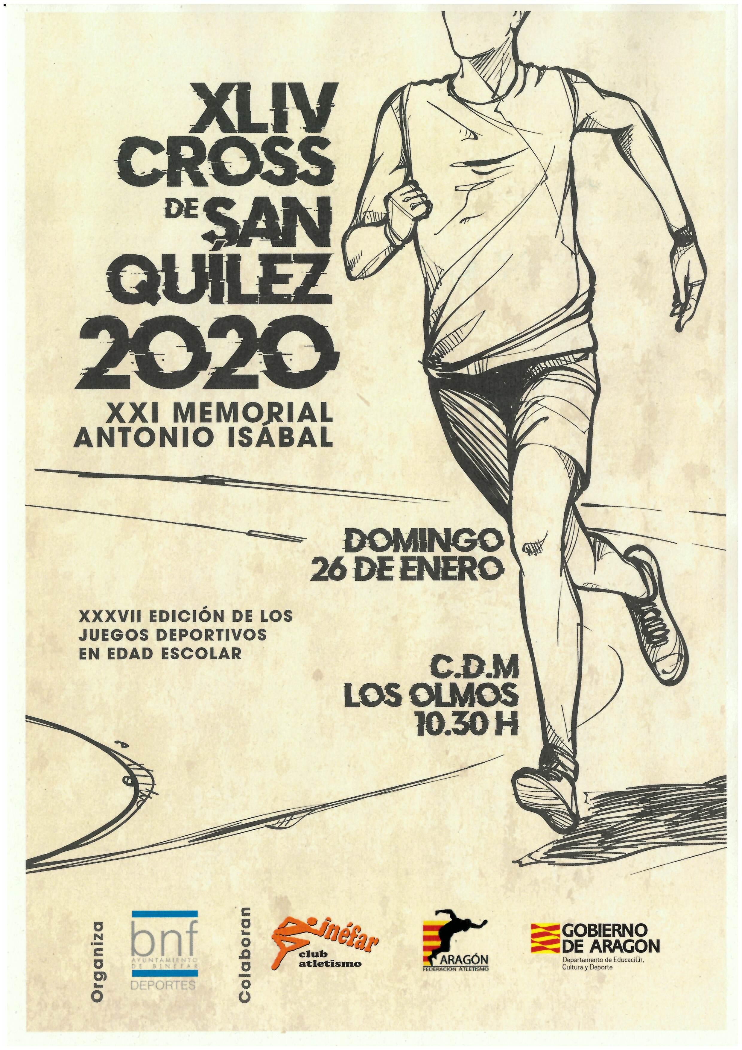 El CDM Los Olmos de Binéfar acogerá el 26 de enero el XLIV Cross de San Quílez
