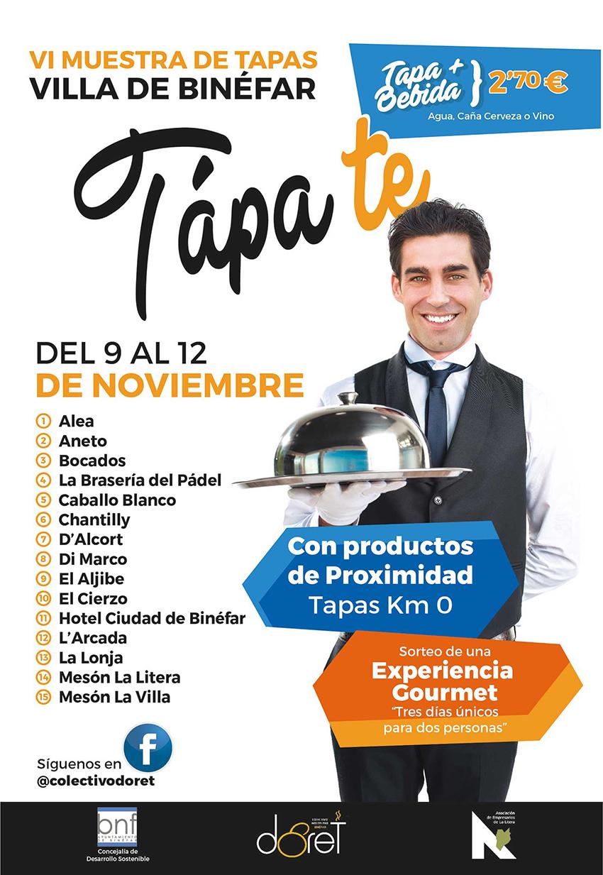 La muestra de tapas 'Tápate', que se celebrará en Binéfar, suma nuevos establecimientos