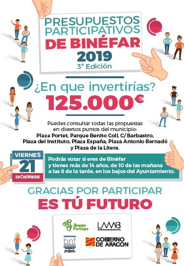 Todos los binefarenses mayores de 14 años están llamados a votar el presupuesto participativo el viernes 21 de diciembre
