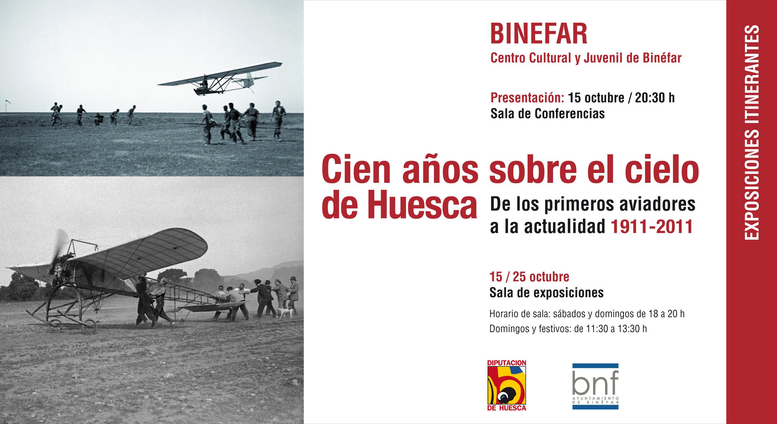 """Exposición """"CIEN AÑOS SBBRE EL CIELO DE HUESCA (1911-2011). DE LOS PRIMEROS AVIADORES A LA ACTUALIDAD"""